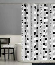 "New Mainstays Black Squares Peva Shower Curtain Standard Size 70"" x 72"""