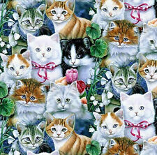 Cats Kittens Flowers & Greenry Fabric 100% Cotton Scrap Quilt Sew Craft New