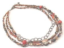 "Silpada Sterling Silver Sponge Coral Shell Bead ""Fiesta Fun"" Necklace - N1563"