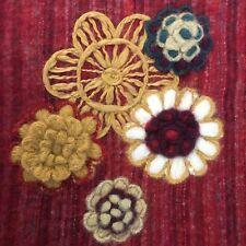 Artistic Accents Hand Crafted Floral Throw Blanket 54x74 Red Gold Blue Wool Bend
