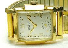 Vintage 14k yellow Solid Gold BULOVA Wind Up Deco Style Men's Wrist watch 1950's