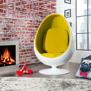 Retro Egg Pod Chair Swivel Chair Yellow Interior White Fiber Glass-Reinforced