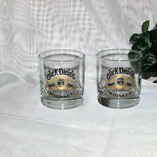 JACK DANIEL'S BAR GLASS SET 2 OLD No 7 TENNESSEE WHISKEY DISTILLERY ADVERTISING