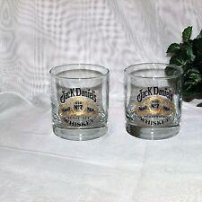 JACK DANIEL'S BAR GLASS SET 2 OLD No 7 TENNESEE WHISKEY DISTILLERY ADVERTISING