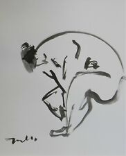 "JOSE TRUJILLO Black INK WASH on Paper Collectible 14x17"" Abstract Nude Original"