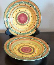 Pier1 Etrusco Italian Made Rim Soup Bowls x2 Red Orange Green Bands Swirls Dots