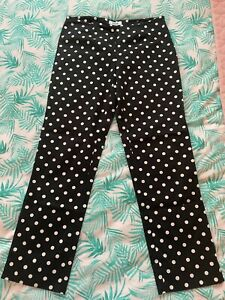 Designer Moschino Polka Dot Black White Women's Cropped Trousers Size 10