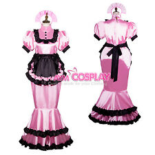 lockable french sissy maid satin dress  Unisex Tailor-made[G3761]