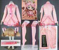 Vocaloid 2 Hatsune Miku Sakura Pink Cosplay Costume Custom