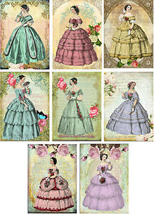Vintage inspired Victorian ball gowns women stationery cards set 8 organza bag