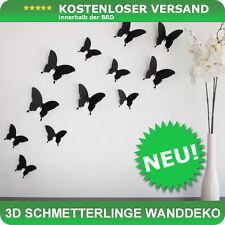 Wandtattoo Schmetterlinge 3D Style zur Wanddekoration 24 STÜCK im Set - schwarz