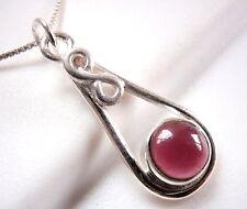 Garnet Pendant w/ Infinity Symbol Means Forever Love 925 Sterling Silver