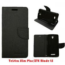 Telstra Slim Plus/ZTE Blade L5 TPU In PU Black Wallet Stand Case Cover +1 SP