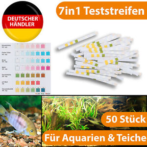 Aquarium 7in1 Teststreifen pH Wert Chlor Nitrit Test Teich Wassertester Pr��fer