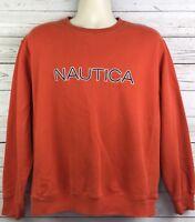 Nautica Orange Spellout Crewneck Sweatshirt Mens Size Large