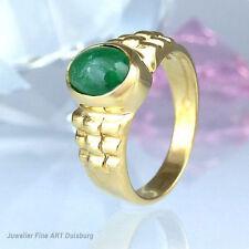 Ring in 585/- Gelbgold mit 1 Smaragd - Cabochonschliff -