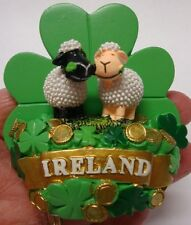 Ireland SHAMROCK TWIN SHEEP BLACK FACE AND CREAM FACE 3D FRIDGE MAGNET