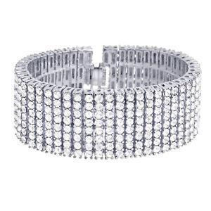 "Men's Hip Hop Fashion Silver Toned Lab Created Diamond 8 Row 8"" Bracelet NB 08 S"