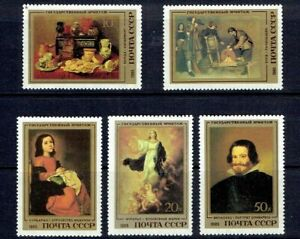 RUSSIA - 1984 PAINTINGS BY SPANISH ARTISTS - SCOTT 5335 TO 5340 - MNH
