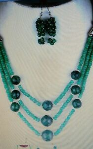 ❤ JAYNES GEMS. EXCLUSIVE 302CT EMERALD  3 STRAND NECKLACE & EARRINGS  925 SILVER