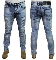 Mens ETO Slim Fit Ripped Stretch Distressed Destroyed Designer Denim Jeans Pants