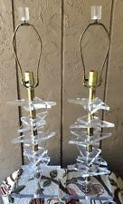 Pair Mid Century Modern Lucite Lamps Karl Springer Style Geometric Tier Stackd