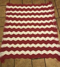 Pink/white Chevron Afgan Throw