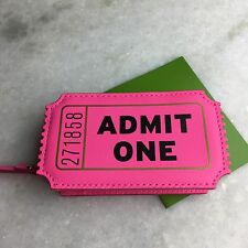 NEW kate Spade ADMIT ONE Ticket Coin Purse Wallet Pink Flavor of the Month