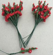 24 DELIGHTFUL WIRED PICK RED FLOWERS, FREE P&P, FLORAL ARRANGERS,CRAFTS,FLORIST