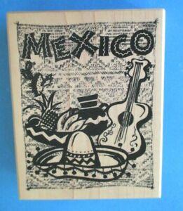 PSX MEXICO TRAVEL Rubber Stamp GUITAR Sombrero CACTUS #K-3212
