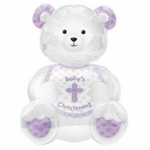 Christening Bear Foil Balloon