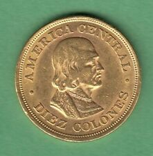 1897 Costa Rica 10 Colones Gold Coin - Bust of Colombus