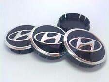 HYUNDAI 4pcs Plastic Wheel Centre Caps with Alu Emblem 60mm/55mm NEW