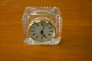 """Roman Numeral Quartz clock 4"""" X 2"""" H heavy glass/crystal battery operated France"""