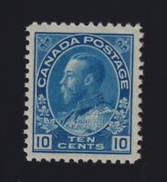Canada Sc #117 (1922) 10c blue Admiral Wet Printing Mint H
