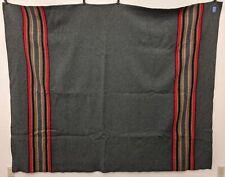 "Pendleton Dark Gray Red Beige Stripe Edge Wool Blanket 82"" x 64"""
