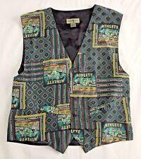 Robert Stock Vest XL Gray Blue Multicolor Artwork Silk athlete