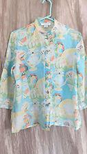 CITRON Santa Monica M Pastels Linen Art to wear Mandarin Collar Shirt Blouse