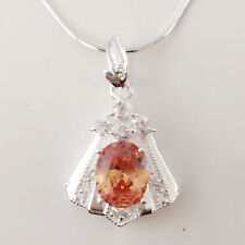 New 925 Sterling Silver Citrine Trapezium Floral Charm Pendant Necklace PD1240