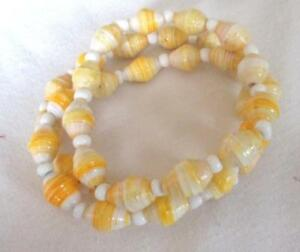 Recycled Paper Bead  Yellow Gold Mix Stretch Triple Strand Bracelet White Accent