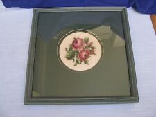 Needlepoint Petit Point Pink Red Roses Picture w Green Wood Frame & Mat w Glass