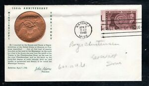 1948 Sc #955 3c Mississippi Territory   First Day Cover with content