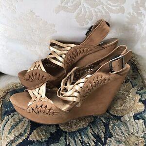 Cynthia Rowley Braided Woven Beige Platform Sandals Wedges Gold Size 8
