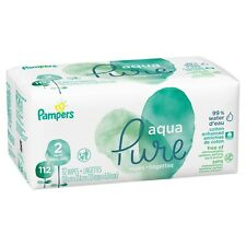 Pampers Aqua Pure Natural Sensitive Baby Wipes, 2X Pop-Top, 112 ct