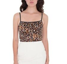American Apparel Disco Crop Tank top Watercolor Cheetah Leopard Black Gold XS
