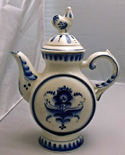 Gzhel 24 Oz Teapot~ White & Blue Floral Design~Hand Made In Russia-Chicken Lid