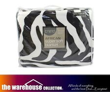 ODYSSEY QUEEN KING ZEBRA SUPER SOFT LOUNGE SOFA THROW RUG BLANKET 240x260cm