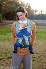 Mei Tai Baby Carrier Handmade by ArtsyBhakti REVERSIBLE forest green and denim