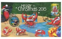 Australia 2015 Merry Christmas Santa Clause $1 Coin & Stamp PNC Cover