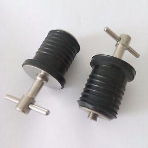 "2 x 1"" Drain Plug Rubber Stainless Steel Twist Boat Hull Livewell Drain Plugs"